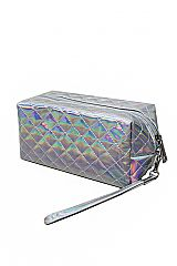 Cubic quilted Makeup Toiletry Wrist let Mini Bag