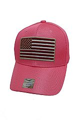 American Flag Embroidered All Mesh Six Panel Velcro Back Baseball Cap