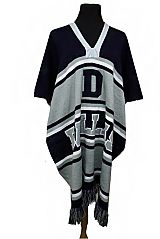 Team Color City and State Striped Design Unisex Thick Knitted Poncho