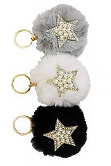 Rhinestone and Pearl Accented Star Detailed Faux Fur Pom Pom Key Chain