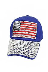 American Flag Bling Rhinestone Embedded Six Panel Velcro Back Cotton Baseball Cap