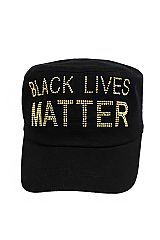 Black Lives Matter BLM Bling Rhinestone Velcro Back Cotton Cadet Cap