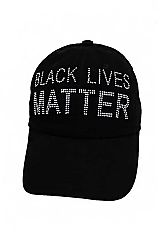 Black Lives Matter BLM Bling Rhinestone Velcro Back Six Panel Cotton Baseball Cap