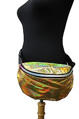 Round double Pocket Pouch Shiny Metallic Hologram Fanny Pack