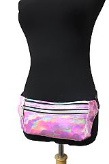 Shiny Retro Three Pocket Rainbow Colored Zipper Fanny Pack Rave Festival Metallic Hologram