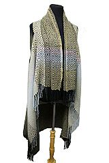 Diamond Pattern Cashmere Feel Super Softness with fringe Long Cardigan Style
