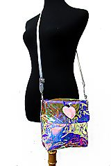 Iridescent Clear Heart Patch Mini cross Body Bag