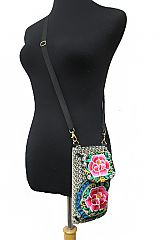 Versatile Wallet Clutch Cross Body Full Floral Embroidered Bag