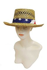 Natural Straw Classic Pork pie Crown USA Flag Fedora Hat