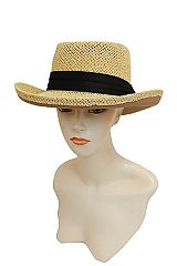 Pork Pie Casual Solid Colored Matte Band Detailed and Mesh Woven Wide Brim Paper Straw Panama Hat