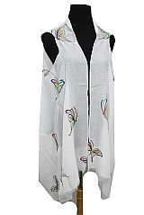 Colorful Threaded Stitched Butterfly Softness Breezy Cardigan Kimono