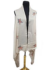 Easy Breezy Star Printed With USA Flag Print Softness No Sleeve Cardigan