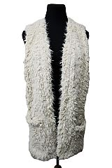 Short Faux Fur Vest With Frontal Double Pockets