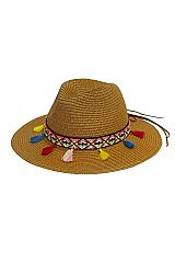 Boho Chic Tribal Patterned Tassel Band Detailed Toyo Straw Panama Hat