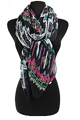 Aztec and Missoni Pattern Soft Scarf