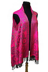 Blossomed Flower and Heart Design Water Color Printed Silk Softness Semi Sheer Sleeveless Cardigan S