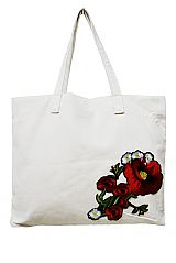 Deep Red Floral Patched Tapestry Tote Bag