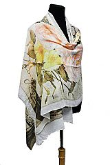 Oversized Vintage Rose And Eiffel Scenic Printed Scarves