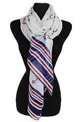 Wide Anchor Pattern Soft Scarves And Wrap