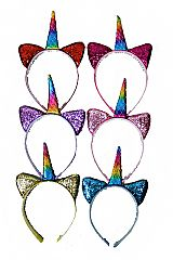 Glittered Cat Ears and Rainbow Unicorn Horned Hair Bands