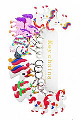 Various Animated Unicorn Silicone Charm with Key Chain