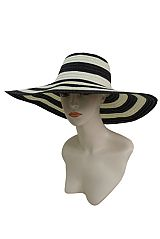 Fashion Stripped Floppy Strong Toyo Straw Sun Hat