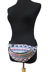 Colorful Abstract Tribal Geometric Triple Compartment Fanny Pack