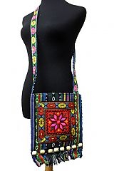 Distressed Traditional Embroidered Cultural Cross Body Bag