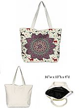 Mandala Design with Inner Zipper Pocket Dimensions Canvas Rope Tote Bag