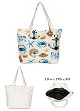 Anchor Sea Shield Design with Inner Zipper Pocket Dimensions Canvas Rope Tote Bag