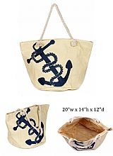Big Anchor Beach Design with Inner Zipper Pocket Dimensions Woven Canvas Rope Tote Bag