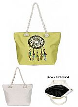 Dream Catcher Design with Inner Zipper Pocket Dimensions Canvas Rope Tote Bag