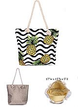 Pineapple Design with Inner Zipper Pocket Dimensions Canvas Rope Tote Bag