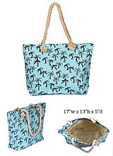 Pom Tree Design with Inner Zipper Pocket Dimensions Canvas Rope Tote Bag