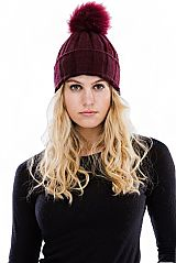 Slim Knit Winter Beanie with Pom Pom