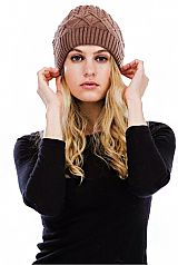 Thick Coil Knit Winter Beanie with Pom Pom