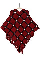 Youth Girl Diamond Pattern Casually Chic Poncho