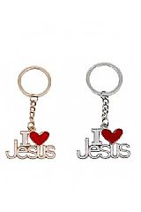 I Love Jesus Designed Metal Key Chain