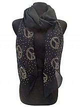 Peace Printed Rhinestones on Soft Scarves.