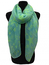 All Over Neon Color Star Print On Scarves
