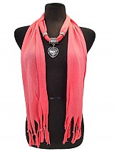 Jersey Fringe Heart Jewel Scarves