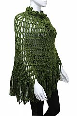 Crochet & Net Knit Poncho With Adjustable Neck Drawstring & Flower Details
