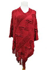 ZigZag & Embossed Stripe Knit Poncho With Fringes