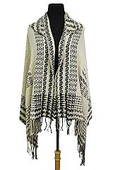 Geometrically Patterned Sweater Styled & Hooded Slouchy Open Silhouette Poncho