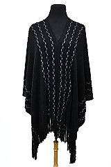 Striped Knitted with Tinsel Accent Super Softness Thick Poncho