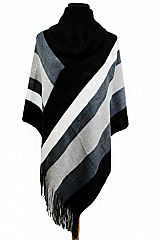 Colorful Striped Design with Turtle Neck Softness Poncho