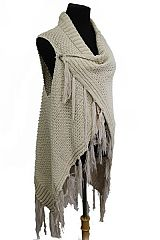 Crochet with Side Snap Bottom Design with fringe Luxury Cardigan Style Poncho