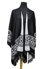 Aztec Pattern Accent Super Softness Open Poncho and Shawl