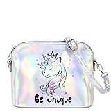 Silver Unicorn Holographic Mini Dome Shape Cross Body Bags