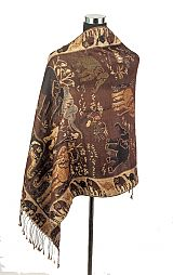 Wild Life Elephant Gold Shimmer Threaded Pashminas